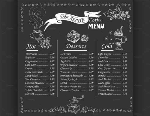 free cafe menu templates for word